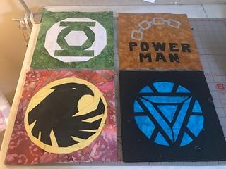 Superheroes: Green lantern, Luke Cage, Black Canary, Iron Man