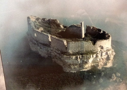 Old photo of the original ruin of the Castillo de Curiel before they renovated (Spain)
