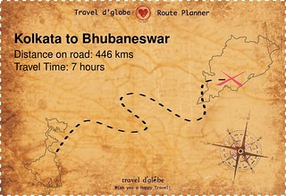 Map from Kolkata to Bhubaneswar