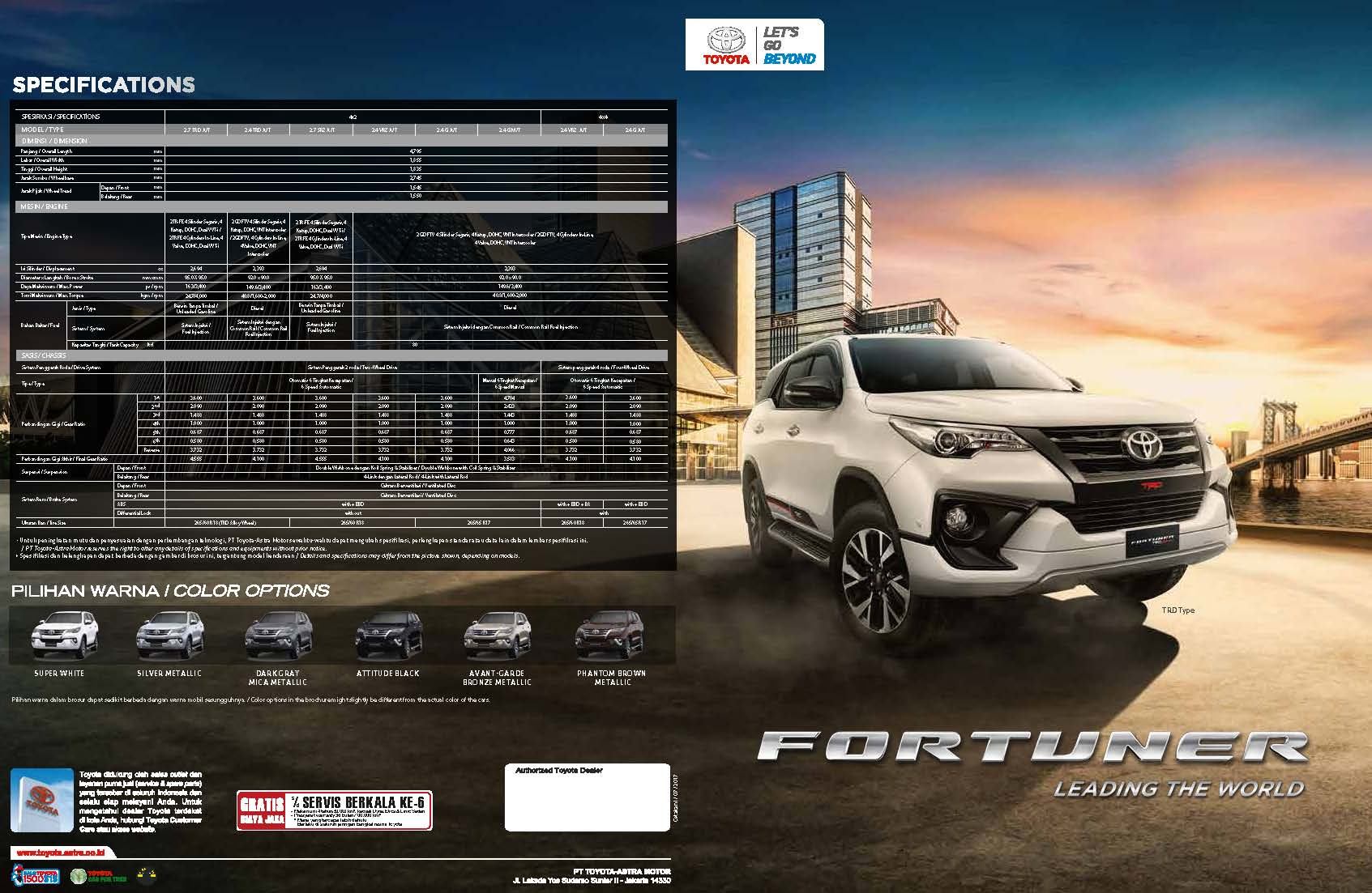 Brosur Mobil Toyota Fortuner TRD 2017 di Jakarta