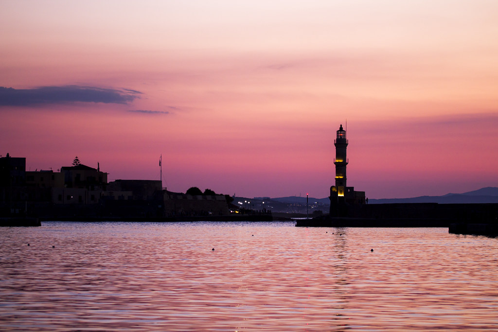 Sunset in Old Harbour in Chania - Crete, Greece