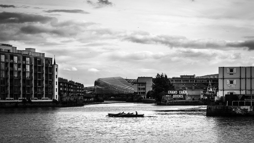 Grand canal docks dublin ireland black and white photography