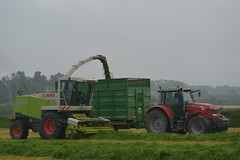 Claas Jaguar 890 SPFH filling a Broughan Engineering Mega HiSpeed Trailer drawn by a Massey Ferguson 7616 Tractor