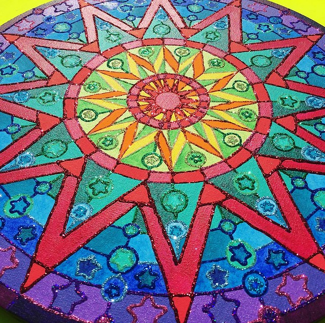 New painting in my Etsy shop! My second rainbow glitter Mandala. 🌈✨✨✨