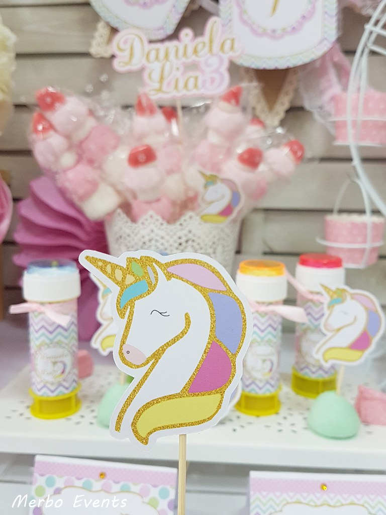 siluetas pincho fiesta cumpleaños unicornio Merbo Events