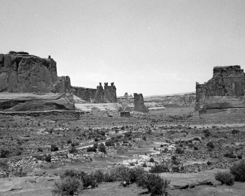 Arches National Park, Three Gossips, center left taken with Kodak Duo Series Six20 Series II on Arista.EDU Ultra 120 black and white film respooled onto 620 spindle developed in Caffenol