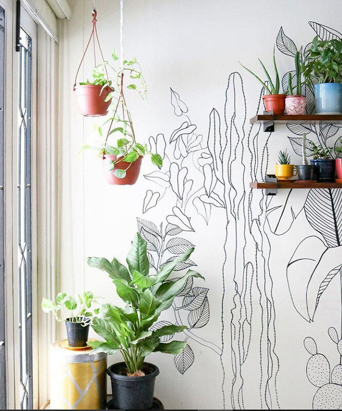 Diy shrutilaya 39 s hand drawn foliage brings a blank wall for Diy wall photo mural