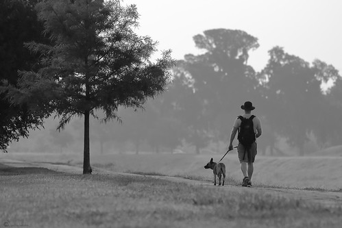 brays bayou houston texas dog walking man janbuchholtz monochrome