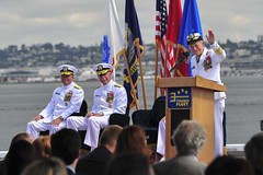 Vice Adm. Nora W. Tyson gives her final remarks as commander of U.S. 3rd Fleet as she prepares to relinquish command to Vice Adm. John D. Alexander. (U.S. Navy/MCSN Natalie Byers)