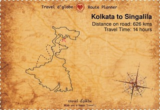 Map from Kolkata to Singalila