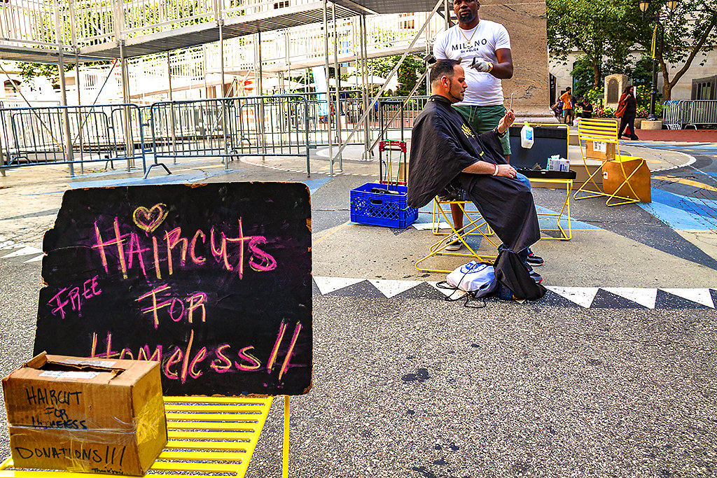 FREE HAIRCUTS FOR HOMELESS--Center City