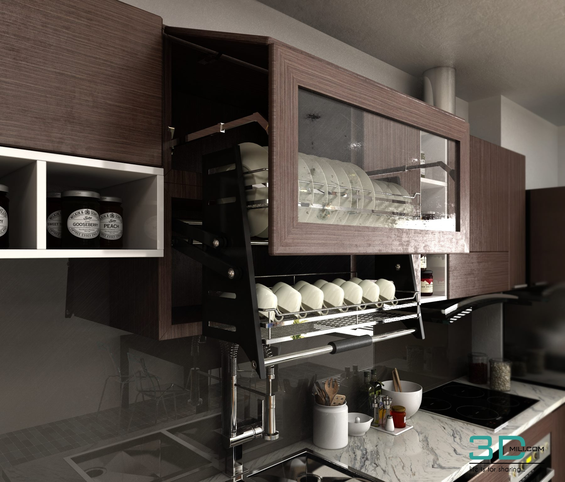 Living And Kitchen Room 3DSMAX VRAY 3.5