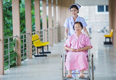 Nursing care for patients in a wheelchair.