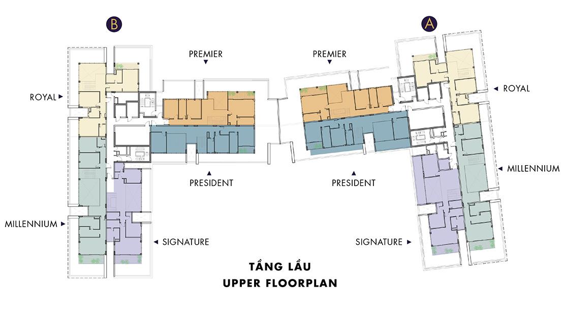 Mặt bằng tầng lầu penthouse, pentvilla Masteri Millennium quận 4.