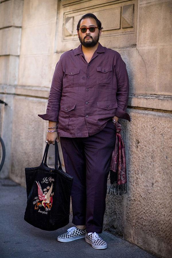 紫サファリシャツ×紫パンツ×VANS ERA チェッカー黒
