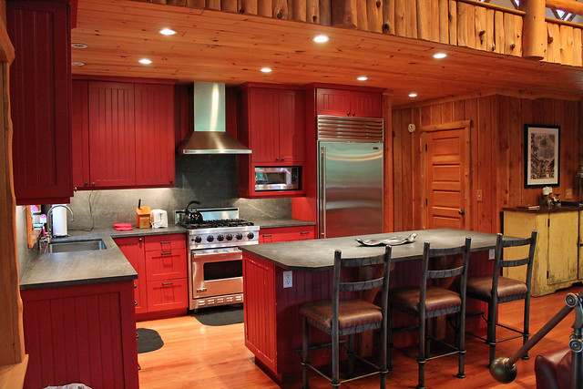 Slate counter tops, stainless steel appliances and gas stove.