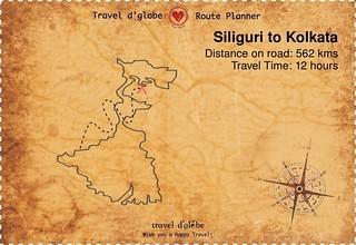 Map from Siliguri to Kolkata