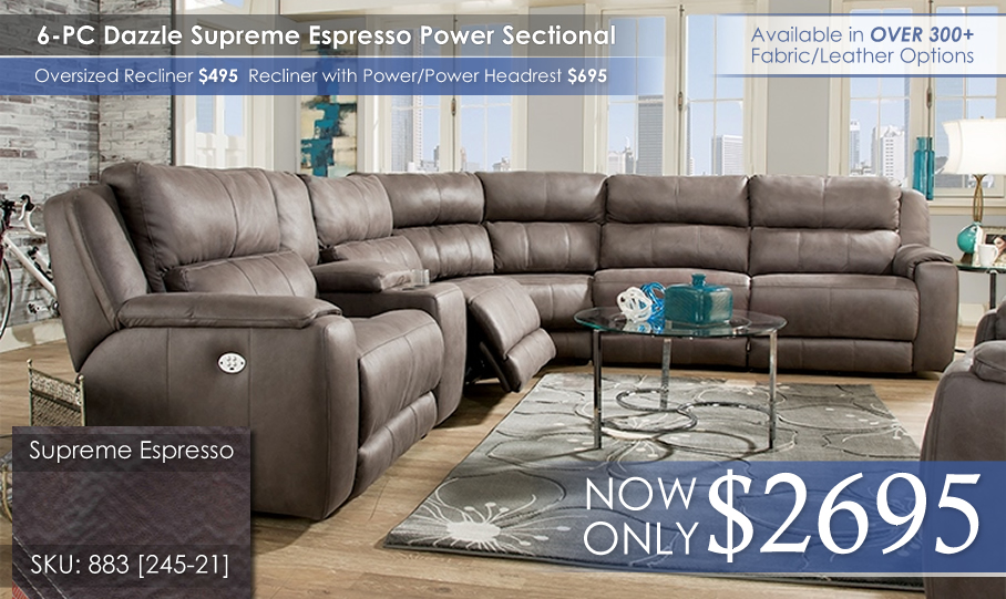 Dazzle 883 Espresso Sectional Power