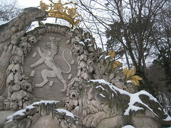 IMG_8553 The Habsburg-Lothringan crest once stood at the top of Castle Weilburg and is its only remaining after burning down at the end of WWII and being destroyed in the modern 1960ies, 24.1.2010