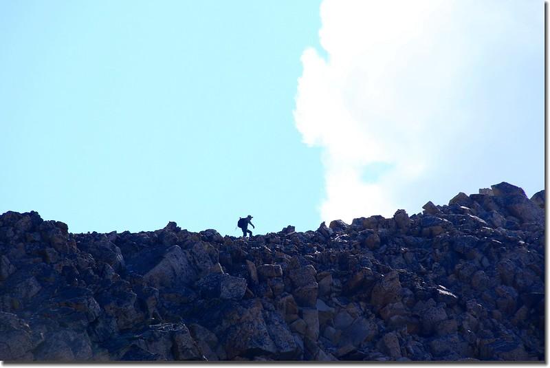 Shen on the NW ridge above 13,900 feet