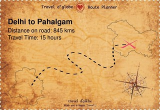 Map from Delhi to Pahalgam