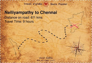 Map from Nelliyampathy to Chennai