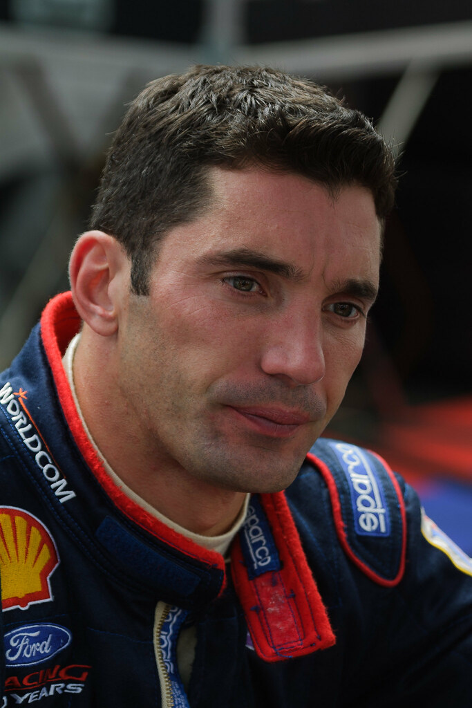 Team Rahal driver Max Papis seems lost in thought during Friday practice for the 2001 CART race in Portland