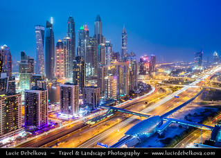United Arab Emirates - UAE - Dubai - Marina area along Sheikh Zayed Road at Dusk - Twilight - Blue Hour - Night