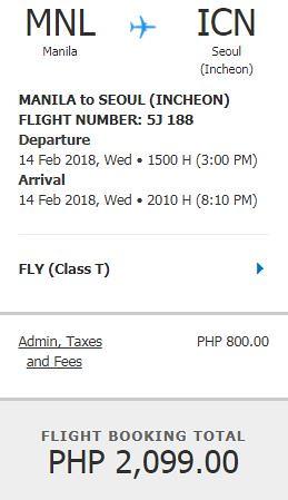 Manila to Seoul Cebu Pacific Air Promo February 14, 2018