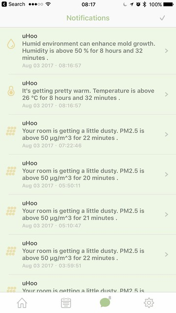 uHoo iOS App - Notifications