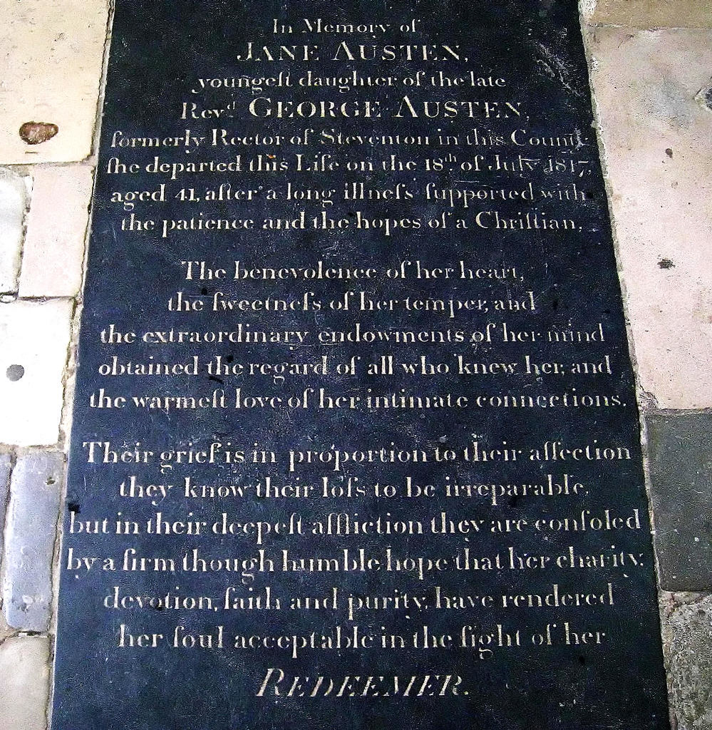 Jane Austen's memorial stone in Winchester Cathedral. Credit Spencer Means, flickr
