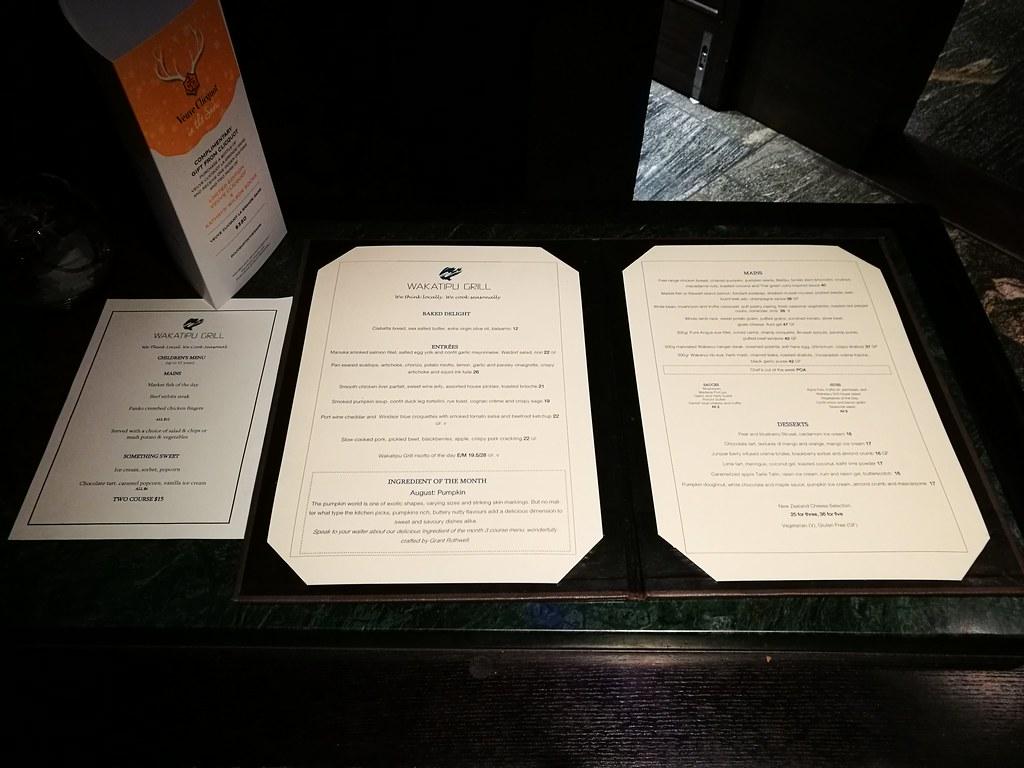 Wakatipu Grill menu