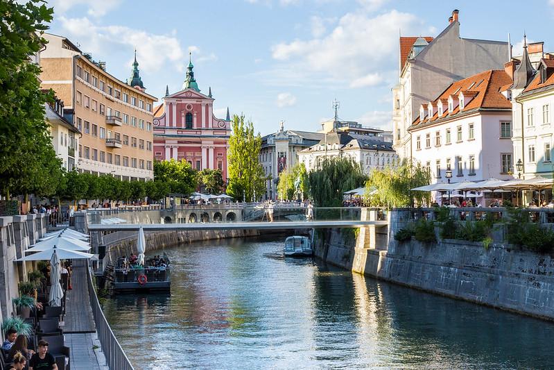View of Ljubljana Center with Ljubljanica River, Ljubljana, Slovenia