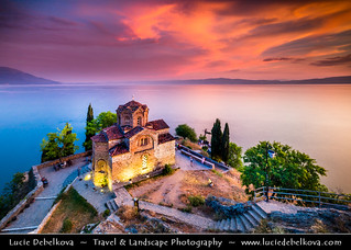 Macedonia (FYROM) - Ohrid Lake & Church of St. John at Kaneo at Sunset