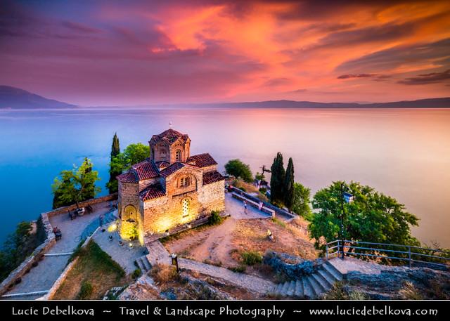 Macedonia (FYROM) - Ohrid Lake & Church of St. John at Kaneo at Sunset