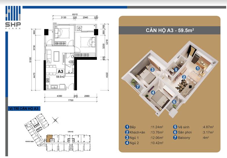 """Mẫu A3 - loại 59.5m2 - Tòa nhà cho thuê căn hộ SHP - mẫu chi tiết  <img src=""""images/"""" width="""""""" height="""""""" alt=""""Công ty Bất Động Sản Tanlong Land"""">"""