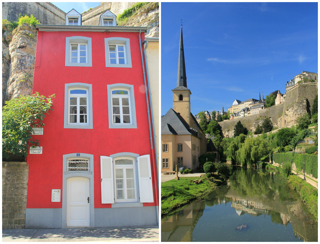 Normal river level versus flood levels, Luxembourg City