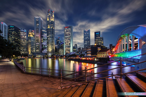 彩虹南橋和駁船碼頭, 夜景 l Rainbow South Bridge & Boat Quay at Dusk *Corners of Singapore*