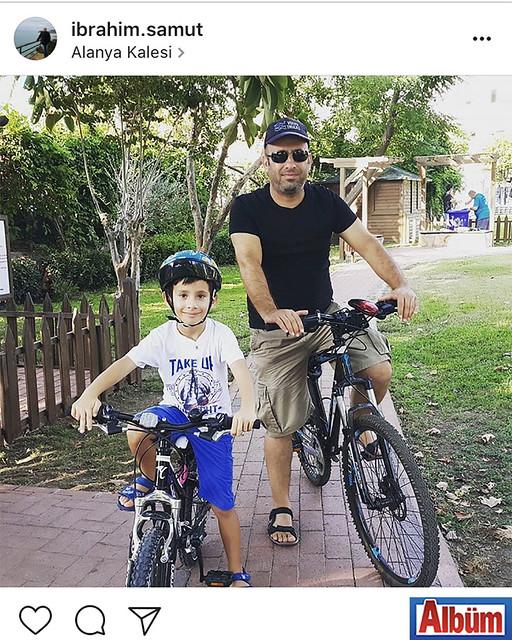 İbrahim Samut, oğlu Aziz Nazım'la birlikte Kale'de bisiklet turu yaptı.