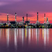 Oil refinery industry at sunrise