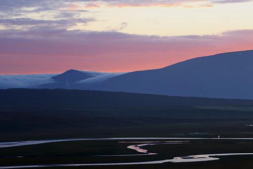 iceland sunset hofsstaðir mountain fjord estuary