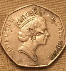 50p coin with Nazi eagle counterstamp