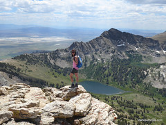 Carrie near Liberty Peak with Favre Lake below