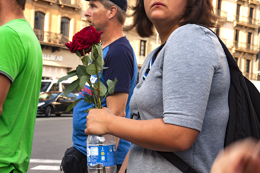 Woman with a rose on La Rambla--Barcelona