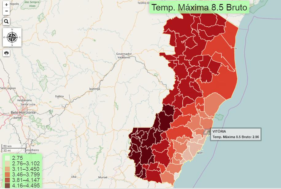 Software identifica municípios capixabas mais vulneráveis à mudança do clima