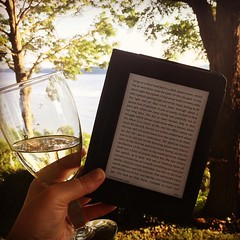 Gaskell's ghost stories, glass of wine, beautiful view. #best, #phdlife, #elizabethgaskell, #loisthewitch, #myoldkentuckyhome, #lovemykindle