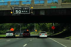I-84 CT6 East - Black Speed Limit Sign
