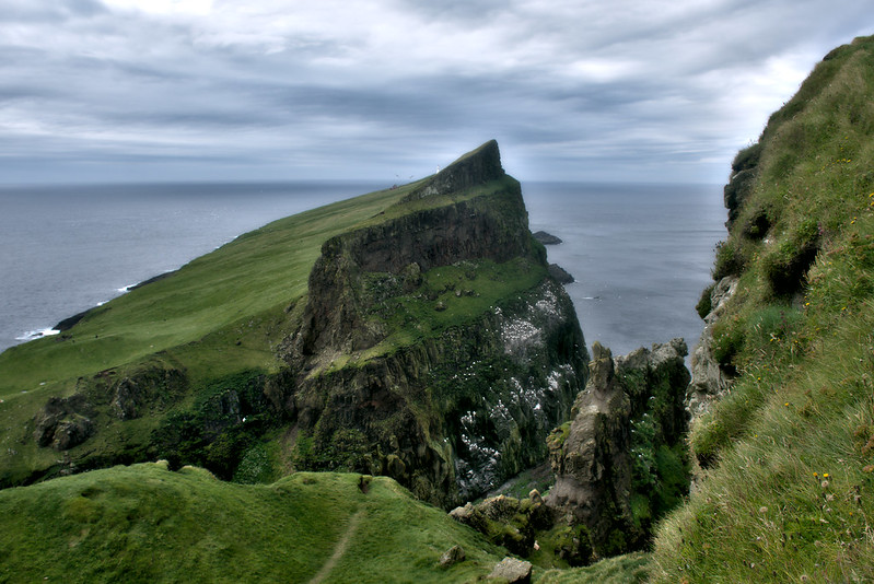 View of the cliff where the Mykines lighthouse is