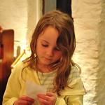 Bobbie reading a receipt