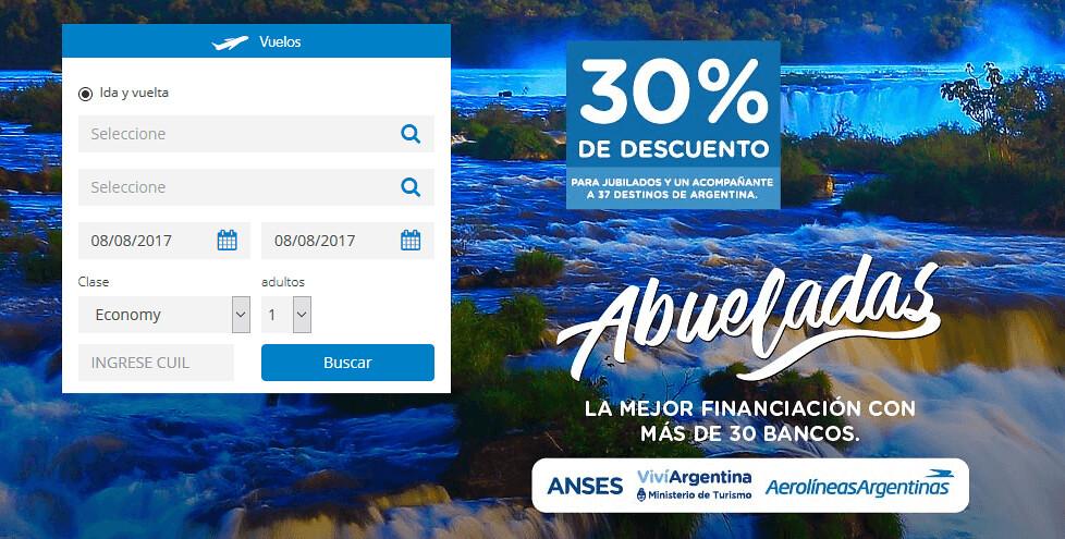 descuento jubilados 30% en vuelos Aerolíneas Argentinas